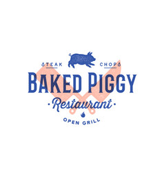 label logo meat restaurant vector image