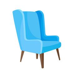 Light blue armchair with high legs vector