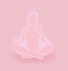 light pink concept of woman meditaion vector image