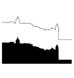 lisbon silhouette outline cityscape vector image