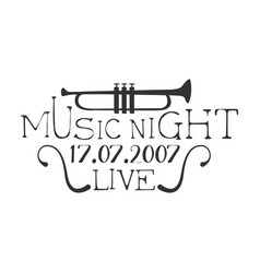 Live music night concert black and white poster vector