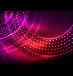Magic neon circle shape abstract background shiny vector