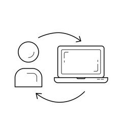man studying online on computer line icon vector image