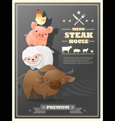 Menu steak house with farm animals vector