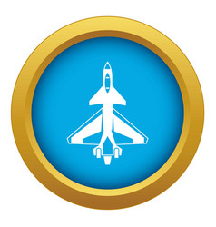 Military fighter jet icon blue isolated vector