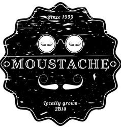 Mustache black retro emblem - vintage grunge vector image