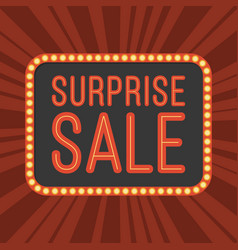 Neon text surprise sale and retro board with light vector