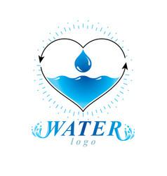 Ocean freshness theme logo water cleansing vector