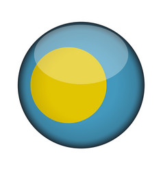 palau flag in glossy round button of icon palau vector image