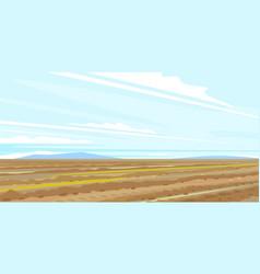 Plow field rural landscape vector