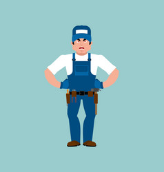 plumber angry fitter evil service worker vector image