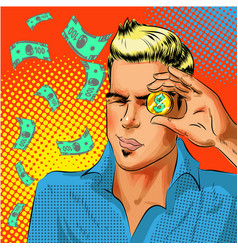 pop art businessman looking at gold dollar vector image
