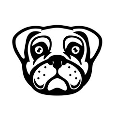 Pug dog head in engraving style design element vector