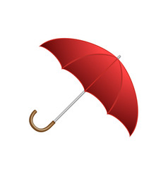 Red shiny open umbrella typical autumn accessory vector