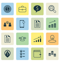 resources icons set with purse call chat and vector image