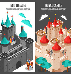 Royal castle vertical banner set vector