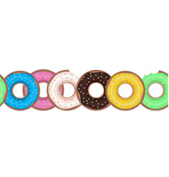 seamless border with flat donuts in a row element vector image