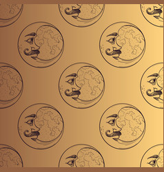 Seamless pattern from drawings of the moons vector
