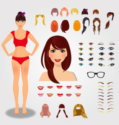 set for creation unique female character full vector image