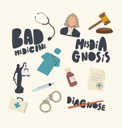 Set icons misdiagnosis gavel medic robe vector