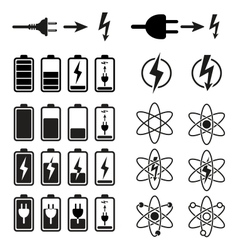 Set of battery charge level indicators on white vector