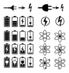 Set of battery charge level indicators on white vector image