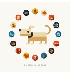 Set of flat design pet shop icons vector image