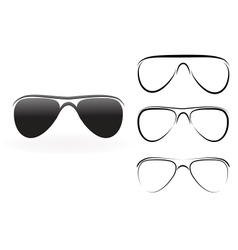 Set of modern glasses and sunglasses isolated on vector image