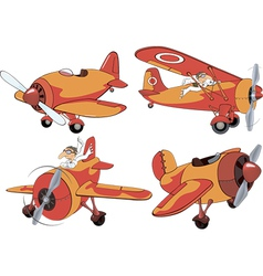 Set of old planes cartoon vector image
