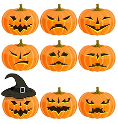 Set pumpkins for Halloween EPS10 vector image