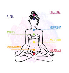 Seven chakras - the theme of meditation and yoga vector