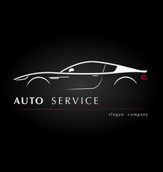silhouette car side view in the black background vector image