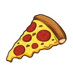 Slice of melted cheese pepperoni pizza vector