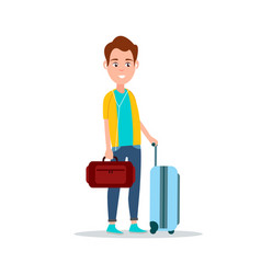 smiling male with luggage vector image