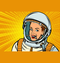smiling woman astronaut vector image