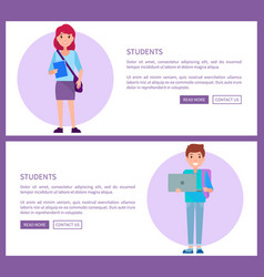 Students web posters set boy in blue sweater and vector