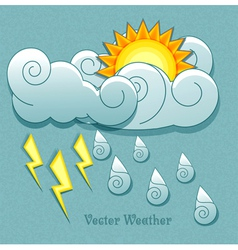 Sun behind the clouds and rain drops and lightnin vector image