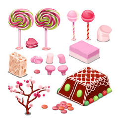 Sweets and candy isolated on a white background vector