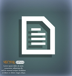 Text File document icon symbol on the blue-green vector image