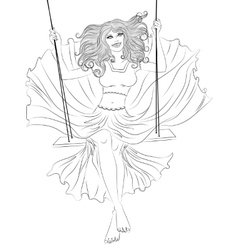 The girl in a flowing dress on a swing outline vector image