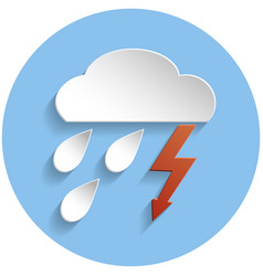 thunderstorm cloud icon paper style vector image