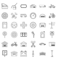 Towing icons set outline style vector