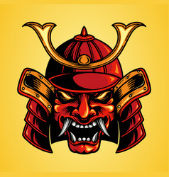 Traditional mask head samurai japan vector