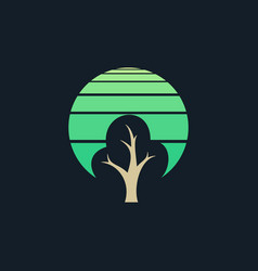 tree background circle logo abstract vector image