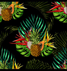 tropical leaves and exotic flowers on background vector image