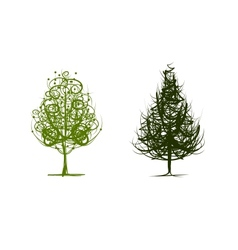 Two green trees sketch for your design vector image