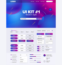 Ui kit for website temlate buttons gui website vector