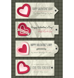 Valentines labels with decorative hearts vector