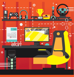 video game interior room computer and chair for vector image