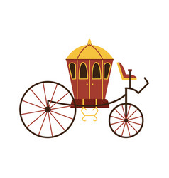 vintage horse carriage cab cartoon icon flat vector image